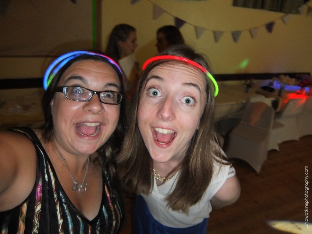 Carla & Holly with glowstick headbands