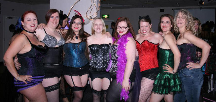 Carla (3rd from left, blue corset) with burlesque ladies at Love You Burlesque cabaret 2012 | carlawatkinsphotography.com